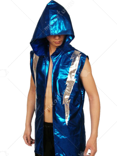 Blue Silver Hood Shiny Metalic Catsuit Costume