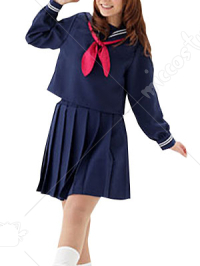 Blue Slong Sleeves School Uniform Cosplay Costume