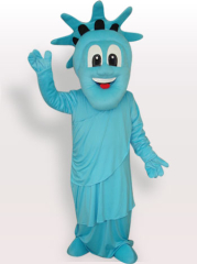 Blue Statue of Liberty Short Plush Adult Mascot Costume