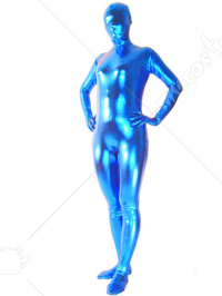 Blue Unicolor Unisex Shiny Metallic Zentai Suit