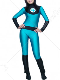Blue White And Black Lycra Spandex Super Hero Catsuit