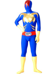 Blue Yellow And Red Lycra Spandex Zentai Suit