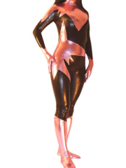 Brown And Pink Unisex Shiny Metallic Catsuit