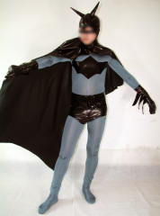 Classic Black And Gray Batman Lycra Spandex Super Hero Costume