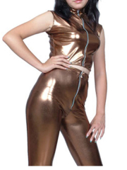 Coffee Sleeveless Shiny Metallic Suit