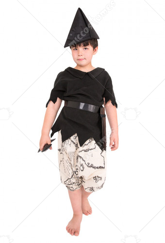 Black Peter Pan Kids Halloween Costume with Hat and Sword