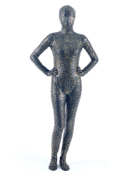 Dark blue lycra zentai suit with gold shiny metallic