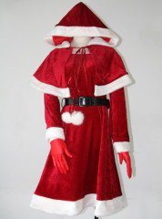 Dark red velvet overcoat Christmas cosplay costume