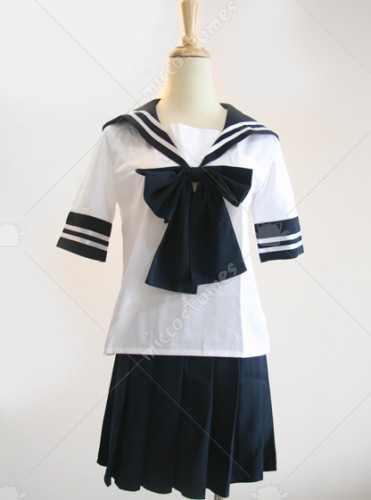 Blue and White Japanese School Uniform