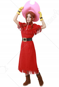 Digimon Adventure Mimi Tachikawa Red Dress Cosplay Costume (hat included)
