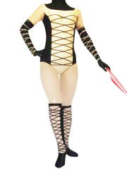 Female Black And Yellow Spandex Catsuit