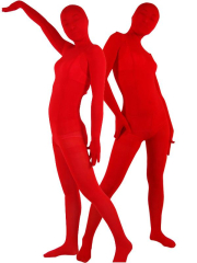 Flame Red Velvet Unisex Zentai Suit