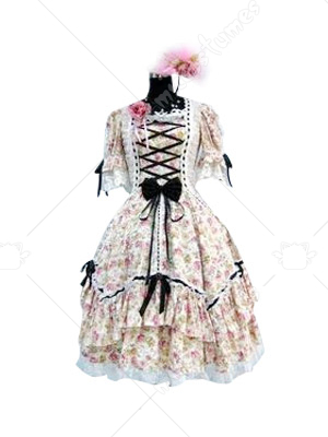 Floral Short Sleeves Lolita Cosplay Dress