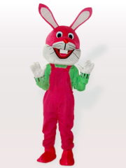 Funny Easter Bunny Rabbit in Pink Bib Overalls Adult Mascot Cost