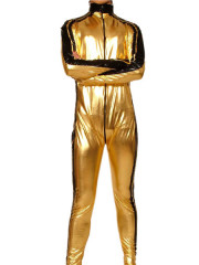 Gold And Black Shiny Metallic Catsuit