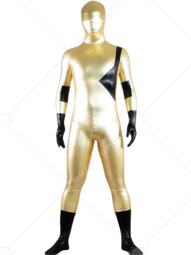 Gold And Black Shiny Metallic Lycra Spandex Zentai Suit