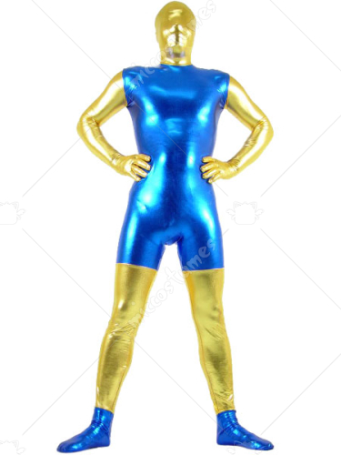 Gold And Blue Shiny Metallic Zentai Suit