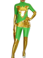 Gold And Green Shiny Metaliic Super Hero Catsuit