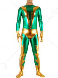 Gold And Green Shiny Metallic Super Hero Catsuit