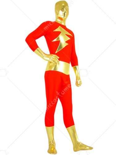 Gold And Red Shiny Metallic Lycra Spandex Super Hero Zentai Suit
