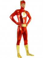 Gold And Red Shiny Metallic The Flash Super Hero Zentai Suit