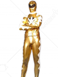 Gold And White Shiny Metallic Super Hero Zentai Suit