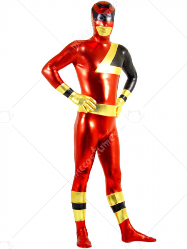 Gold Black And Red Shiny Metallic Super Hero Zentai Suit