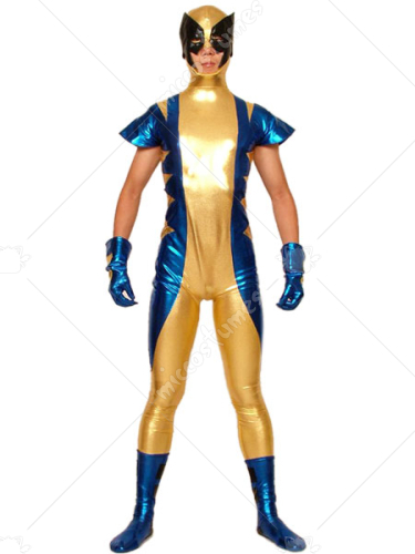 Gold Blue And Black Shiny Metallic Super Hero Zentai Suit