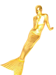 Gold Shiny Metallic Mermaid Trumpet Zentai Suit