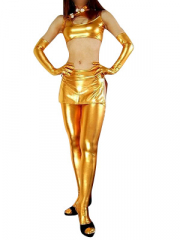 Gold Shiny Metallic Sexy Three Set Costume