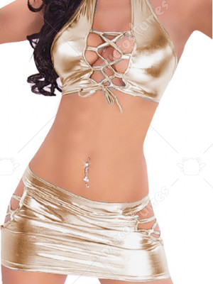 Gold Shiny Metallic Sexy Two set Costume