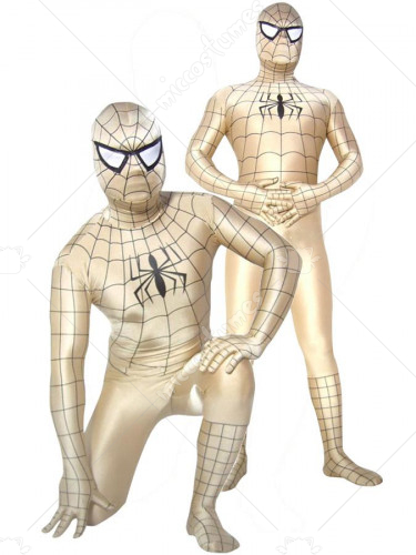 Golden Lycra Spandex Unisex Spiderman Costume Suit Outfit Zentai