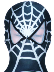 Gray And White Spider Man Pattern Open Eye Spandex Hood