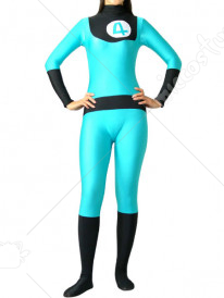 Green And Black Lycra Spandex Unisex Super Hero Catsuit