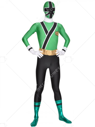 Green And Black Shiny Metallic Lycra Super Hero Zentai Suit