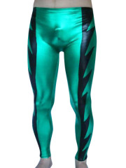 Green And Black Shiny Metallic Male Pants