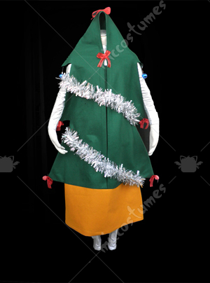 Green and orange Christmas tree cosplay costume