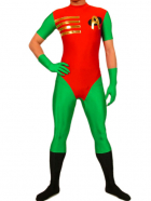 Green And Red Lycra Spandex Super Hero Catsuit