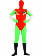 Green And Red Lycra Spandex Super Hero Zentai Suit