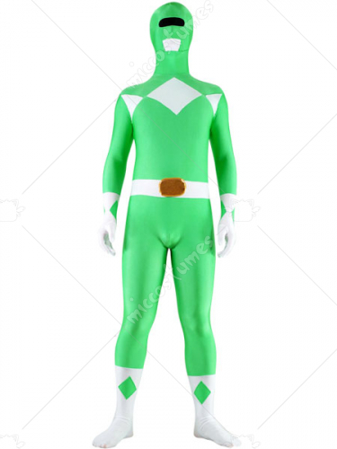 Green And White Lycra Spandex Unisex Super Hero Zentai Suit