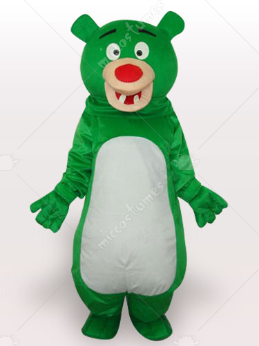 Green Bear Short Plush Adult Mascot Costume