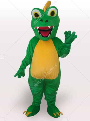 Green Dinosaur Short Plush Adult Mascot Costume
