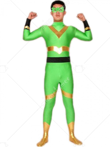 Green Gold And Black Lycra Spandex Super Hero Catsuit