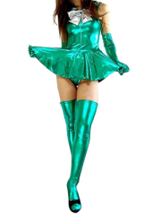 Green Shiny Metallic Bowknot Mini Skirt Suit