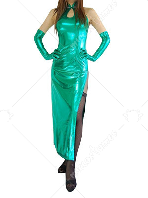 Green Shiny Metallic Sexy Dress