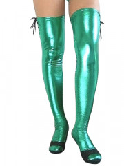 Green Shiny Metallic Sexy Stockings