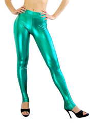 Green Shiny Metallic Sexy Trousers