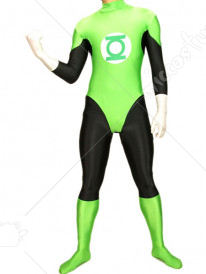 Green White And Black Lycra Spandex Super Hero Catsuit