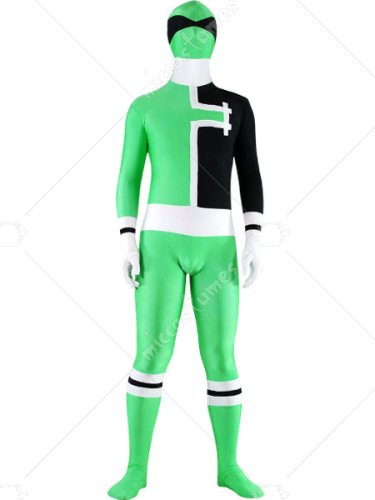 Green White And Black Lycra Spandex Unisex Zentai Suit