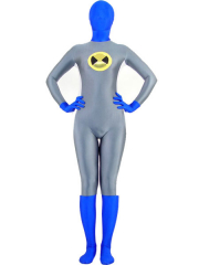 Grey And Blue Lycra Spandex Zentai Suit